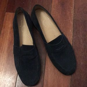 Dark blue suede Cole Haan penny loafer. Worn once.
